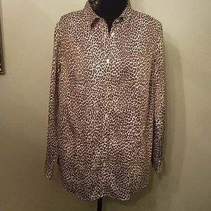 Talbots animal print button up blouse